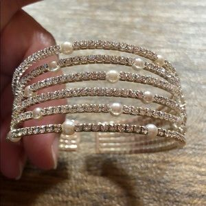Crystal And Pearl Bangle Bracelet wedding and prom